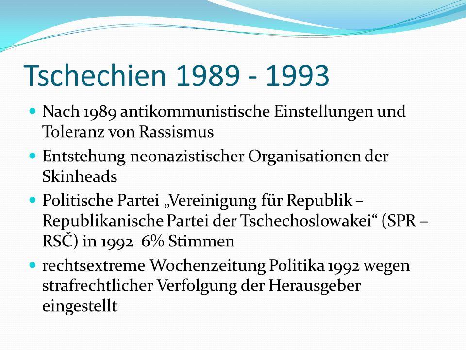 Tschechien 1989 - 1993 Nach 1989 antikommunistische Einstellungen und Toleranz von Rassismus Entstehung neonazistischer Organisationen der Skinheads P