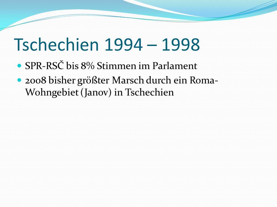 Tschechien 1994 – 1998 SPR-RSČ bis 8% Stimmen im Parlament 2008 bisher größter Marsch durch ein Roma- Wohngebiet (Janov) in Tschechien