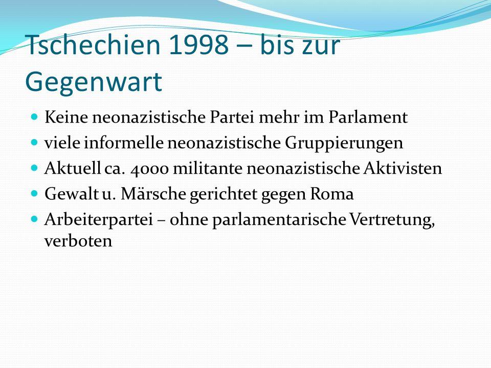 Tschechien 1998 – bis zur Gegenwart Keine neonazistische Partei mehr im Parlament viele informelle neonazistische Gruppierungen Aktuell ca. 4000 milit