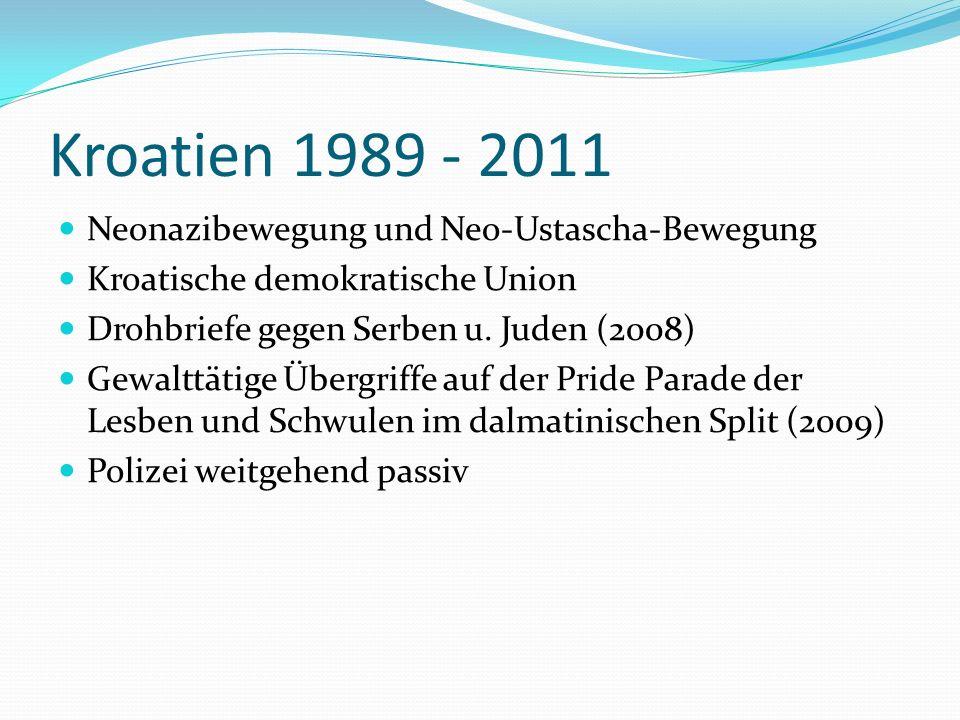 Kroatien 1989 - 2011 Neonazibewegung und Neo-Ustascha-Bewegung Kroatische demokratische Union Drohbriefe gegen Serben u. Juden (2008) Gewalttätige Übe