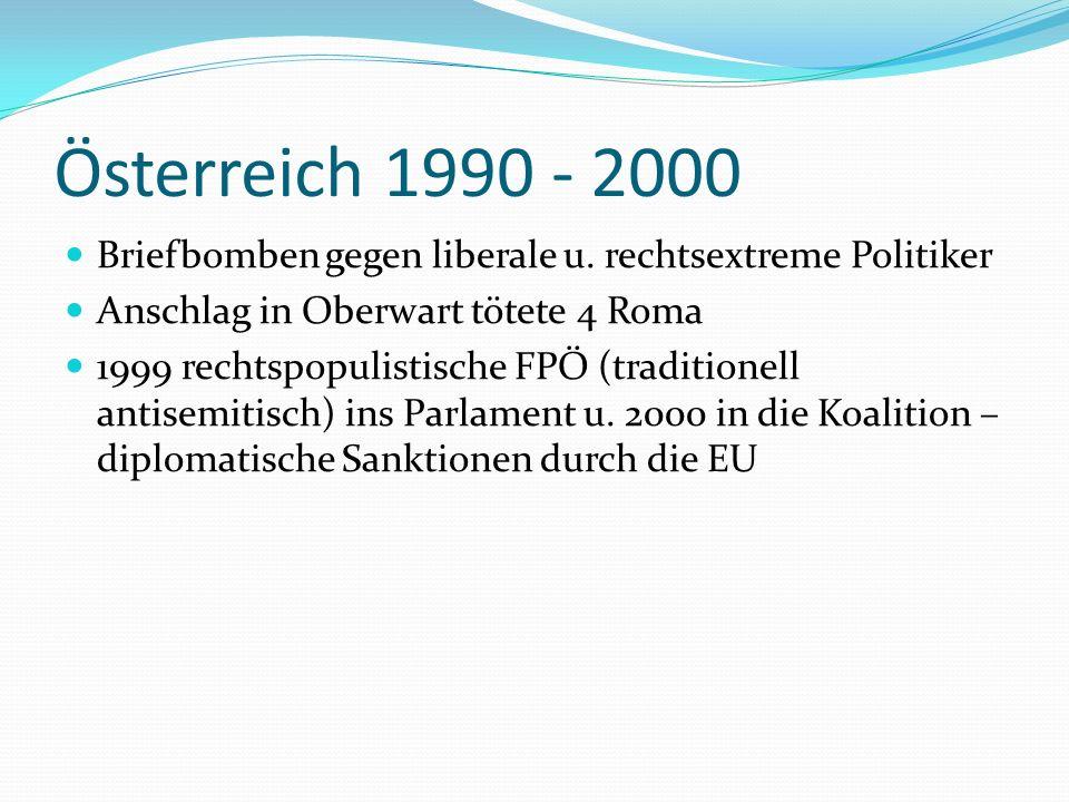 Österreich 1990 - 2000 Briefbomben gegen liberale u. rechtsextreme Politiker Anschlag in Oberwart tötete 4 Roma 1999 rechtspopulistische FPÖ (traditio