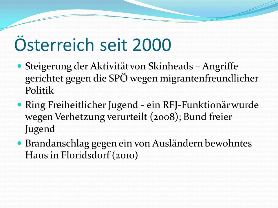 Österreich seit 2000 Steigerung der Aktivität von Skinheads – Angriffe gerichtet gegen die SPÖ wegen migrantenfreundlicher Politik Ring Freiheitlicher Jugend - ein RFJ-Funktionär wurde wegen Verhetzung verurteilt (2008); Bund freier Jugend Brandanschlag gegen ein von Ausländern bewohntes Haus in Floridsdorf (2010)