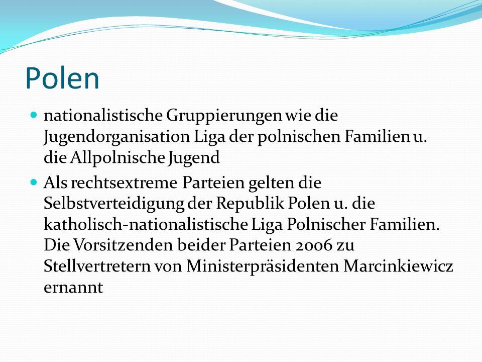 Polen nationalistische Gruppierungen wie die Jugendorganisation Liga der polnischen Familien u. die Allpolnische Jugend Als rechtsextreme Parteien gel