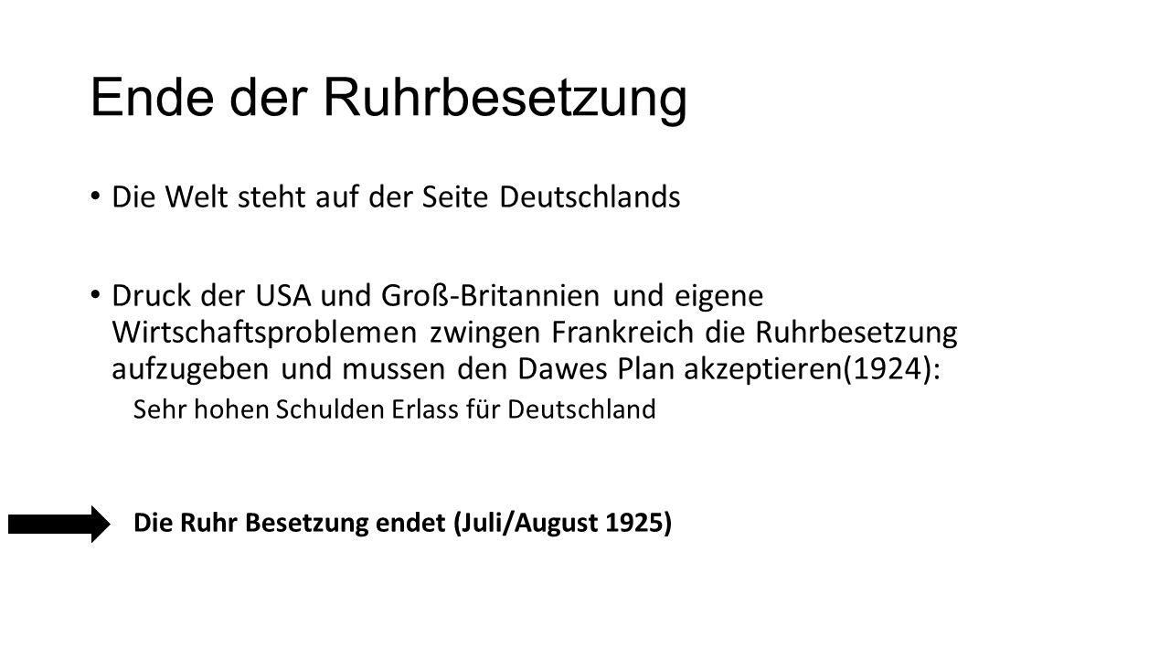 Ende der Ruhrbesetzung Die Welt steht auf der Seite Deutschlands Druck der USA und Groß-Britannien und eigene Wirtschaftsproblemen zwingen Frankreich die Ruhrbesetzung aufzugeben und mussen den Dawes Plan akzeptieren(1924): Sehr hohen Schulden Erlass für Deutschland Die Ruhr Besetzung endet (Juli/August 1925)