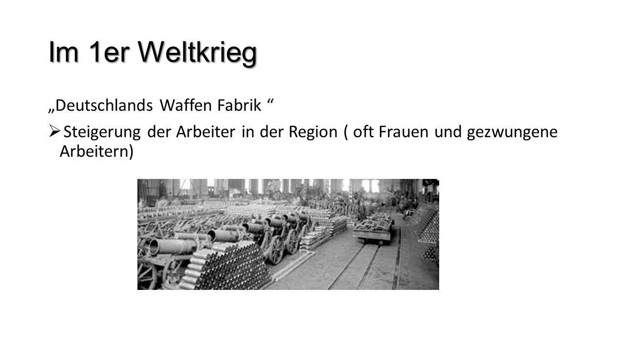 Im 1er Weltkrieg Deutschlands Waffen Fabrik Steigerung der Arbeiter in der Region ( oft Frauen und gezwungene Arbeitern)