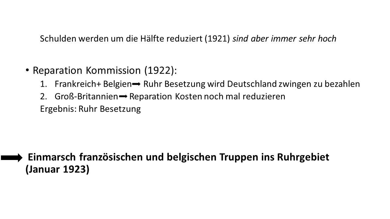 Schulden werden um die Hälfte reduziert (1921) sind aber immer sehr hoch Reparation Kommission (1922): 1.Frankreich+ Belgien Ruhr Besetzung wird Deutschland zwingen zu bezahlen 2.Groß-Britannien Reparation Kosten noch mal reduzieren Ergebnis: Ruhr Besetzung Einmarsch französischen und belgischen Truppen ins Ruhrgebiet (Januar 1923)