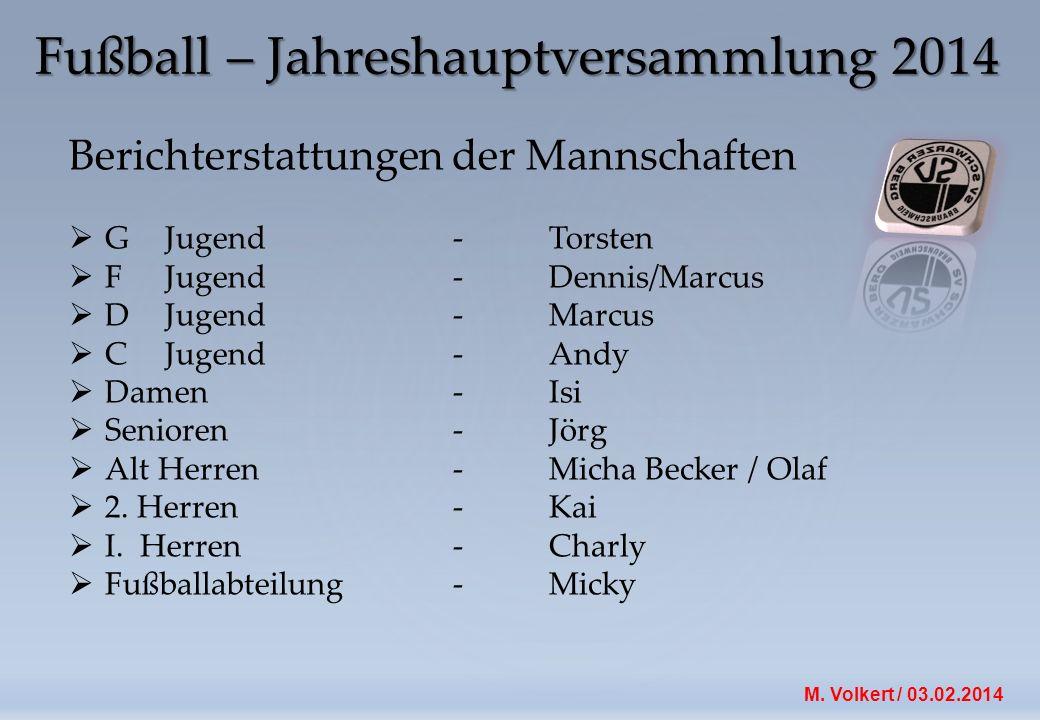 M.Volkert / 03.02.2014 Berichterstattung der Fußballabteilung Abteilungsleiter M.