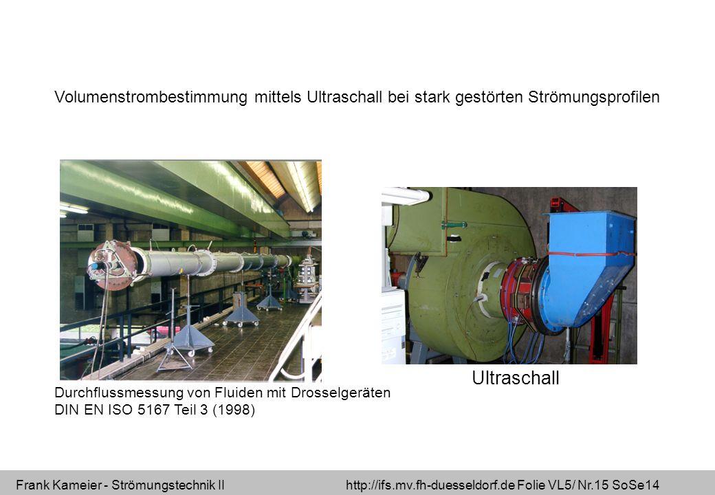 Frank Kameier - Strömungstechnik II http://ifs.mv.fh-duesseldorf.de Folie VL5/ Nr.15 SoSe14 Volumenstrombestimmung mittels Ultraschall bei stark gestörten Strömungsprofilen Ultraschall Durchflussmessung von Fluiden mit Drosselgeräten DIN EN ISO 5167 Teil 3 (1998)
