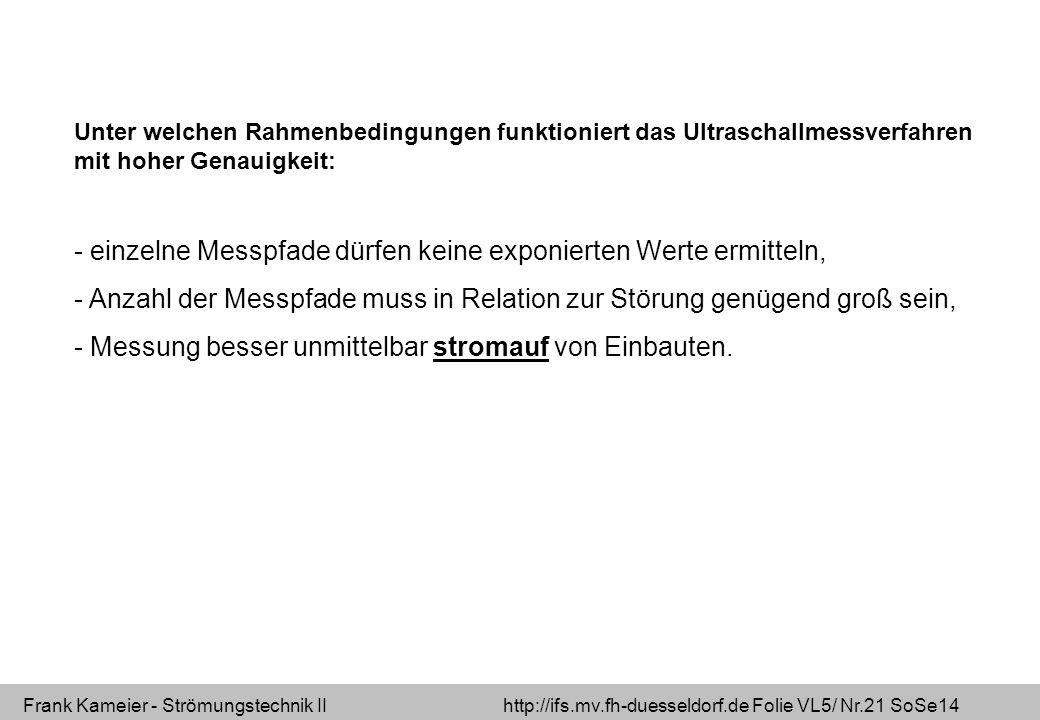 Frank Kameier - Strömungstechnik II http://ifs.mv.fh-duesseldorf.de Folie VL5/ Nr.21 SoSe14 Unter welchen Rahmenbedingungen funktioniert das Ultraschallmessverfahren mit hoher Genauigkeit: - einzelne Messpfade dürfen keine exponierten Werte ermitteln, - Anzahl der Messpfade muss in Relation zur Störung genügend groß sein, - Messung besser unmittelbar stromauf von Einbauten.