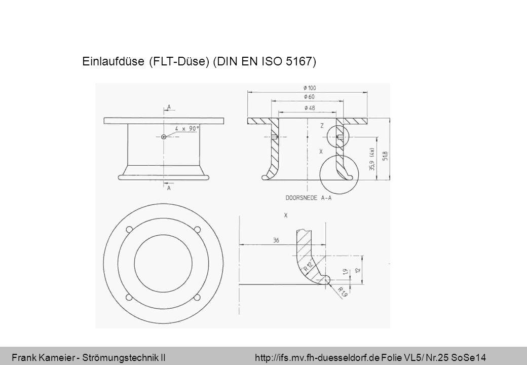 Frank Kameier - Strömungstechnik II http://ifs.mv.fh-duesseldorf.de Folie VL5/ Nr.25 SoSe14 Einlaufdüse (FLT-Düse) (DIN EN ISO 5167)