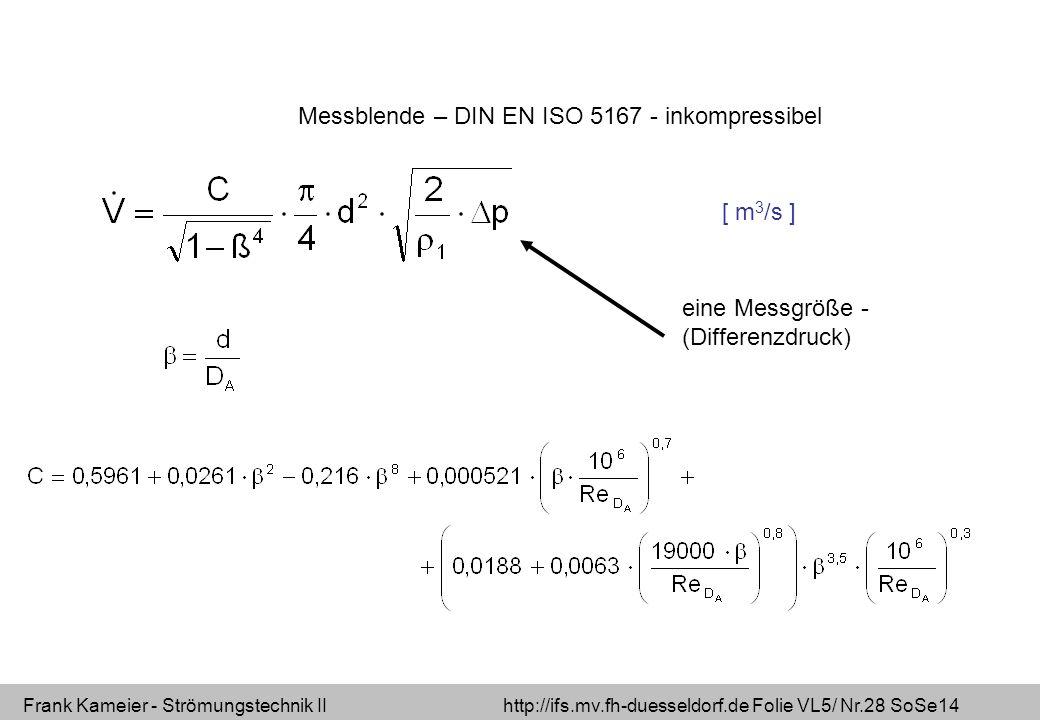 Frank Kameier - Strömungstechnik II http://ifs.mv.fh-duesseldorf.de Folie VL5/ Nr.28 SoSe14 Messblende – DIN EN ISO 5167 - inkompressibel eine Messgröße - (Differenzdruck) [ m 3 /s ]