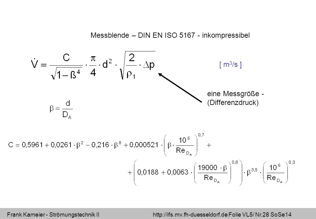 Frank Kameier - Strömungstechnik II http://ifs.mv.fh-duesseldorf.de Folie VL5/ Nr.28 SoSe14 Messblende – DIN EN ISO 5167 - inkompressibel eine Messgrö
