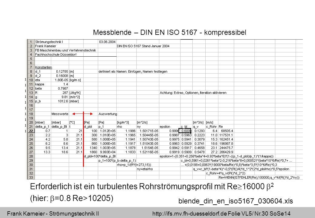 Frank Kameier - Strömungstechnik II http://ifs.mv.fh-duesseldorf.de Folie VL5/ Nr.30 SoSe14 blende_din_en_iso5167_030604.xls Erforderlich ist ein turbulentes Rohrströmungsprofil mit Re 16000 2 (hier: =0.8 Re>10205) Messblende – DIN EN ISO 5167 - kompressibel
