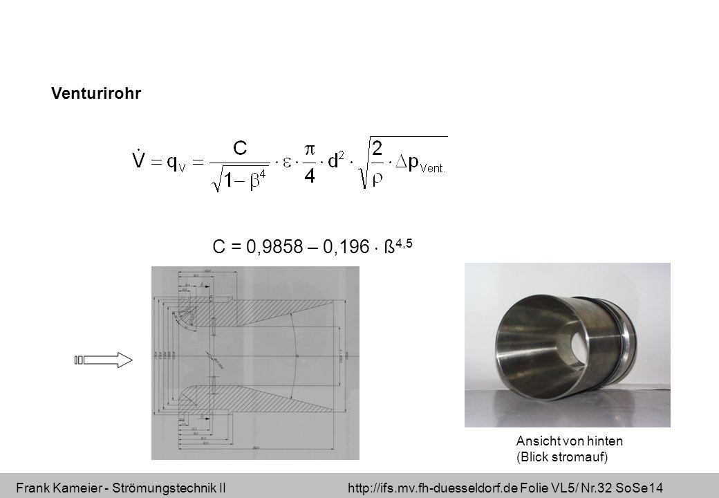 Frank Kameier - Strömungstechnik II http://ifs.mv.fh-duesseldorf.de Folie VL5/ Nr.32 SoSe14 Venturirohr C = 0,9858 – 0,196 ß 4,5 Ansicht von hinten (Blick stromauf)