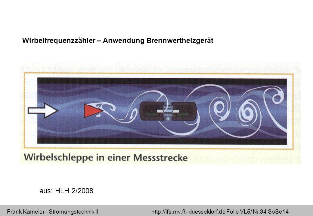 Frank Kameier - Strömungstechnik II http://ifs.mv.fh-duesseldorf.de Folie VL5/ Nr.34 SoSe14 Wirbelfrequenzzähler – Anwendung Brennwertheizgerät aus: HLH 2/2008