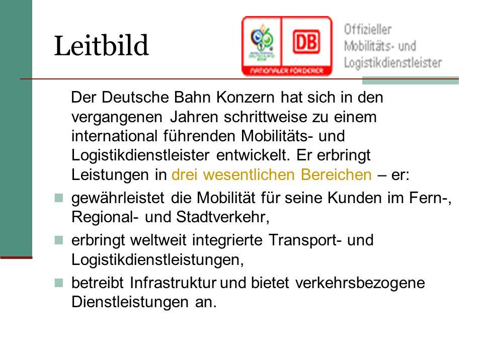 Leitbild Der Deutsche Bahn Konzern hat sich in den vergangenen Jahren schrittweise zu einem international führenden Mobilitäts- und Logistikdienstleister entwickelt.