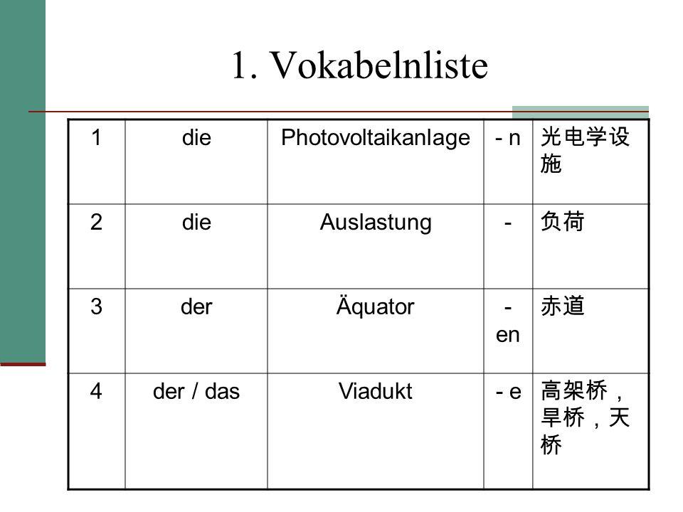 1. Vokabelnliste 1diePhotovoltaikanlage- n 2dieAuslastung- 3derÄquator- en 4der / dasViadukt- e