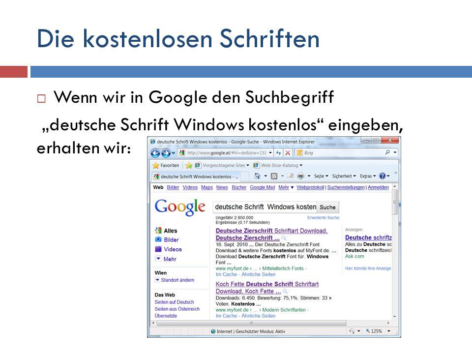 Deutsche Schrift deshalb, um nur deutsche (Umlaute) Schriftarten zu bekommen.