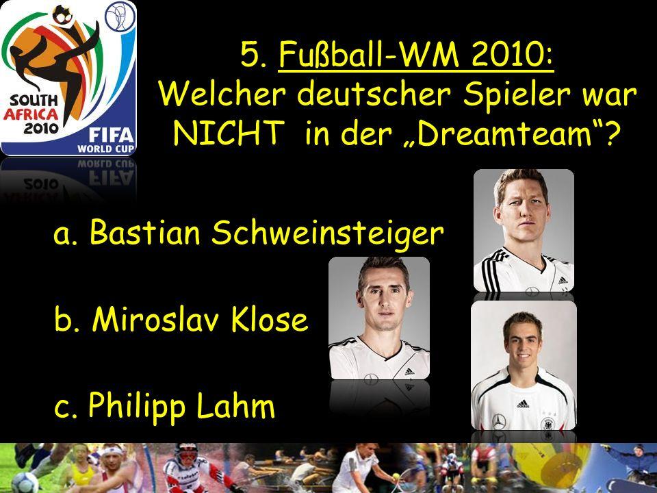 4. Fußball: Wann hat die Mannschaft ihr 1. WM-Titel gewonnen? a. 1944 b. 1954 c. 1964