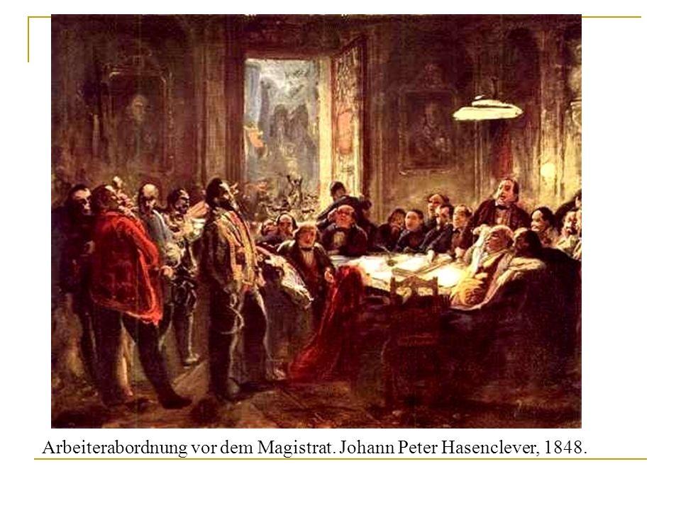 Arbeiterabordnung vor dem Magistrat. Johann Peter Hasenclever, 1848.