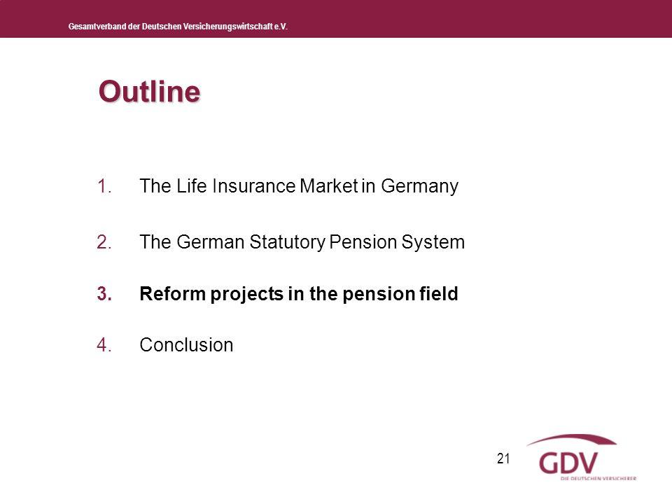 Gesamtverband der Deutschen Versicherungswirtschaft e.V. 21 Outline 1.The Life Insurance Market in Germany 2.The German Statutory Pension System 3.Ref