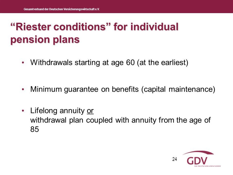 Gesamtverband der Deutschen Versicherungswirtschaft e.V. 24 Riester conditions for individual pension plans Withdrawals starting at age 60 (at the ear
