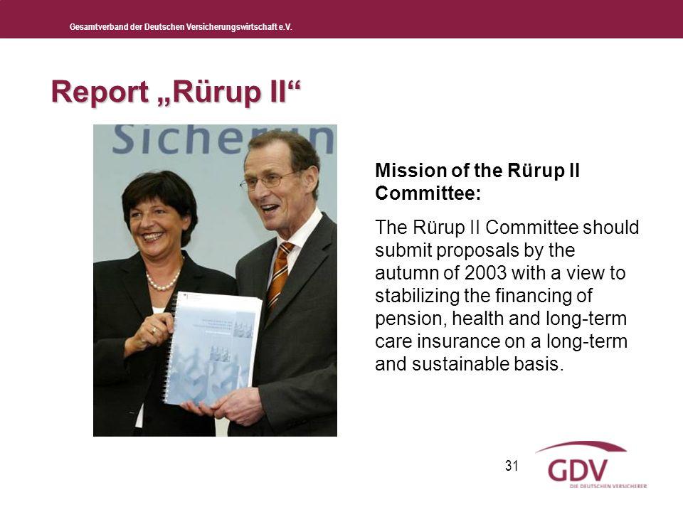 Gesamtverband der Deutschen Versicherungswirtschaft e.V. 31 Mission of the Rürup II Committee: The Rürup II Committee should submit proposals by the a