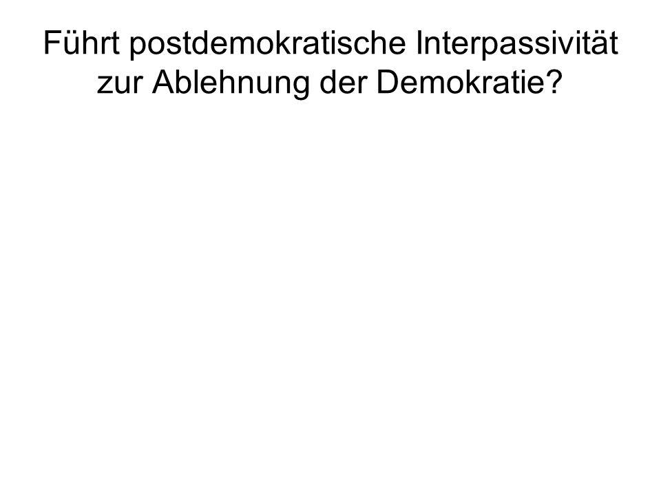 Führt postdemokratische Interpassivität zur Ablehnung der Demokratie?