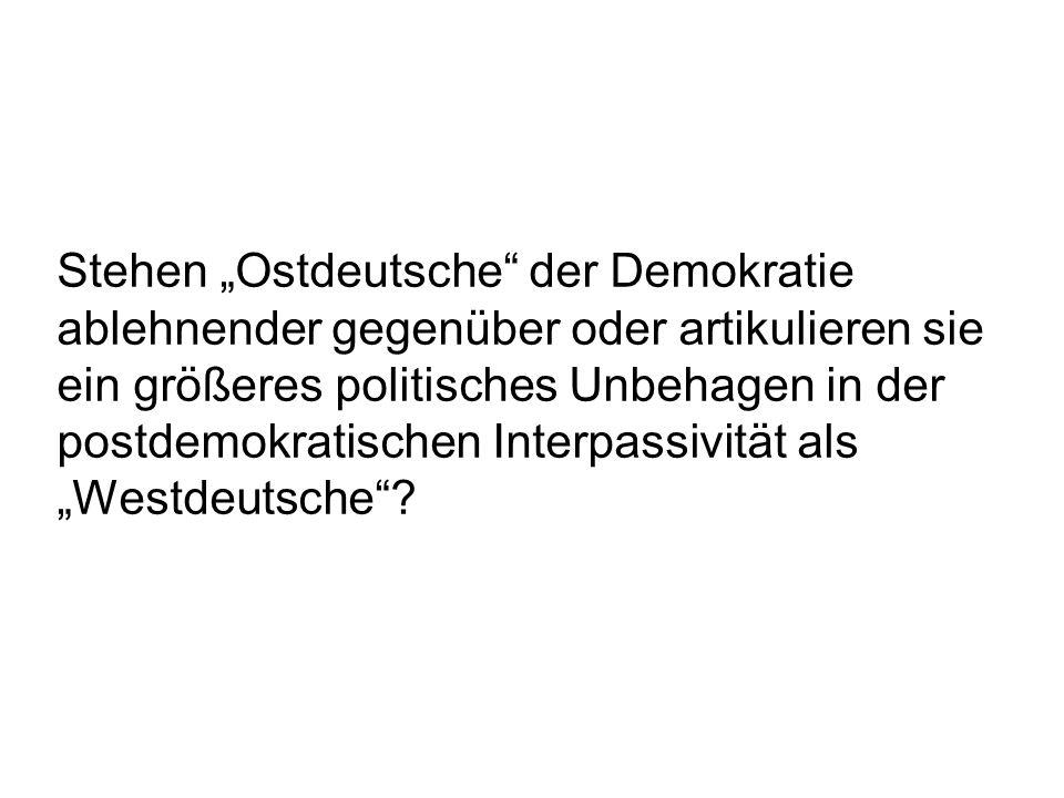Stehen Ostdeutsche der Demokratie ablehnender gegenüber oder artikulieren sie ein größeres politisches Unbehagen in der postdemokratischen Interpassiv
