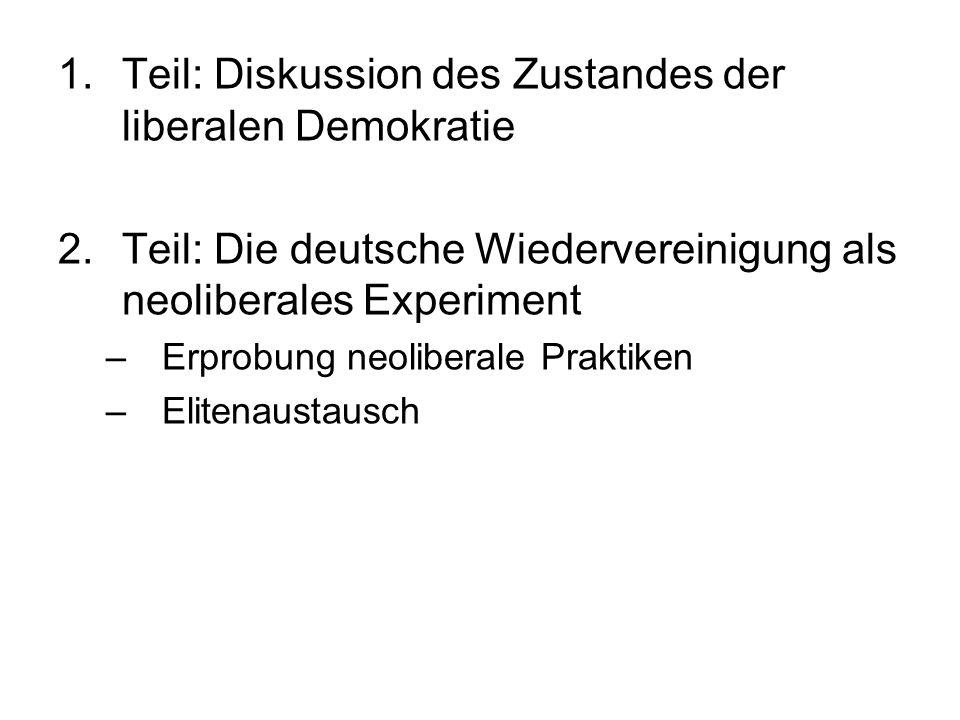 1.Teil: Diskussion des Zustandes der liberalen Demokratie 2.Teil: Die deutsche Wiedervereinigung als neoliberales Experiment –Erprobung neoliberale Pr