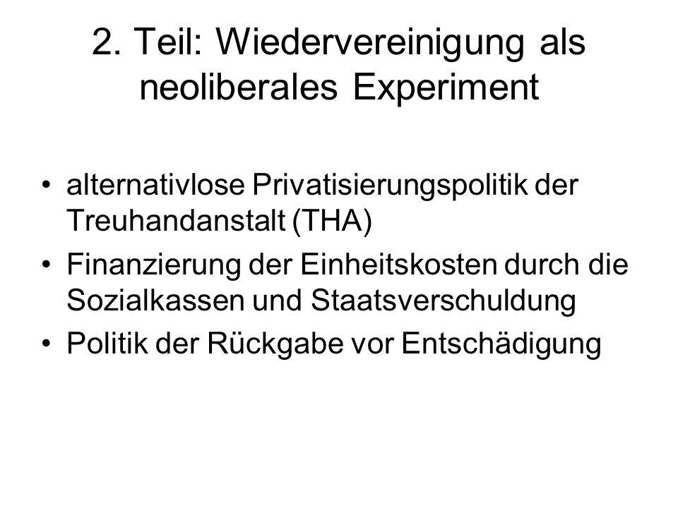 2. Teil: Wiedervereinigung als neoliberales Experiment alternativlose Privatisierungspolitik der Treuhandanstalt (THA) Finanzierung der Einheitskosten