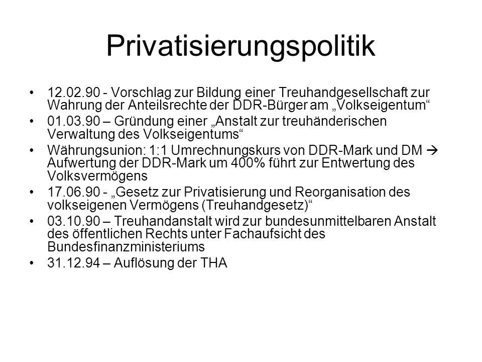 Privatisierungspolitik 12.02.90 - Vorschlag zur Bildung einer Treuhandgesellschaft zur Wahrung der Anteilsrechte der DDR-Bürger am Volkseigentum 01.03
