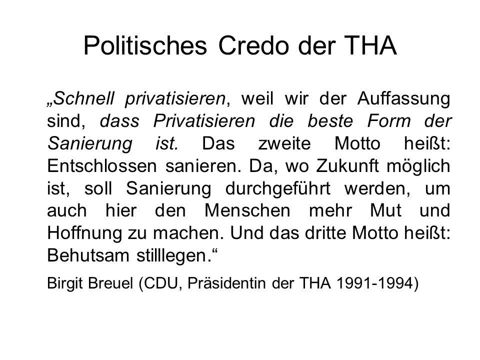 Politisches Credo der THA Schnell privatisieren, weil wir der Auffassung sind, dass Privatisieren die beste Form der Sanierung ist. Das zweite Motto h