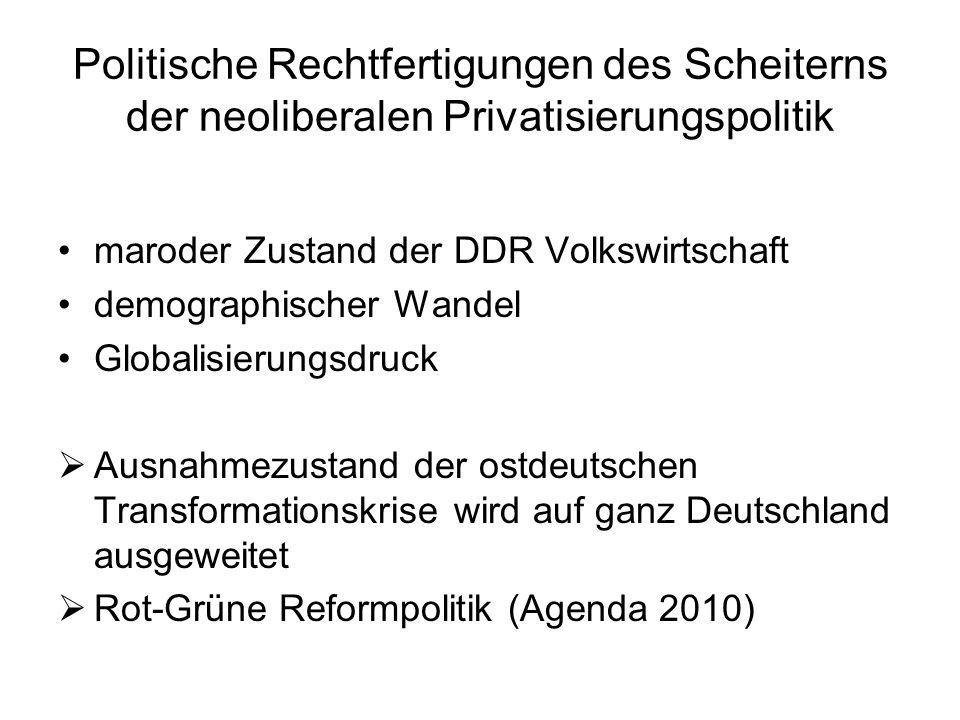 Politische Rechtfertigungen des Scheiterns der neoliberalen Privatisierungspolitik maroder Zustand der DDR Volkswirtschaft demographischer Wandel Glob