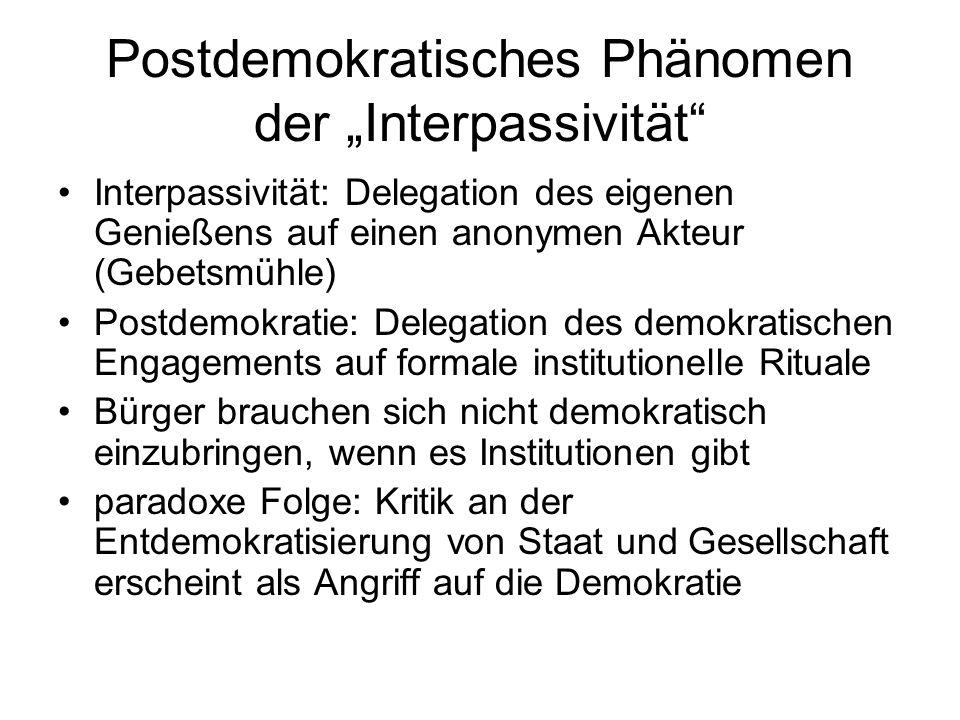 Postdemokratisches Phänomen der Interpassivität Interpassivität: Delegation des eigenen Genießens auf einen anonymen Akteur (Gebetsmühle) Postdemokrat