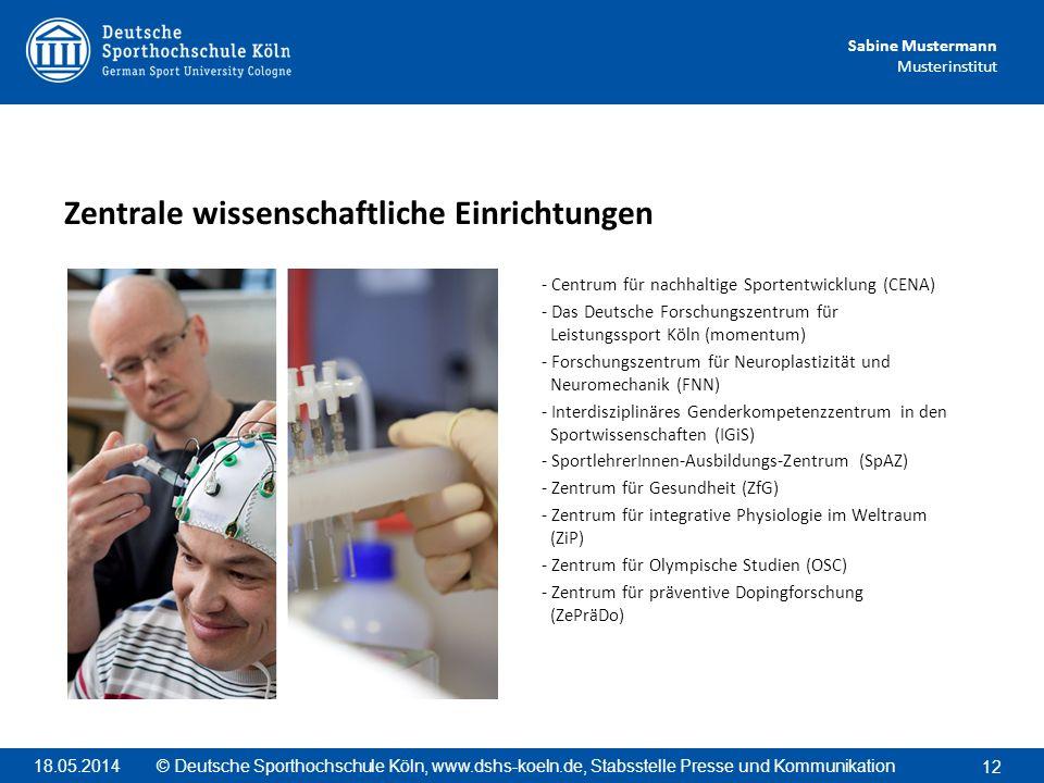 Sabine Mustermann Musterinstitut - Centrum für nachhaltige Sportentwicklung (CENA) - Das Deutsche Forschungszentrum für Leistungssport Köln (momentum)