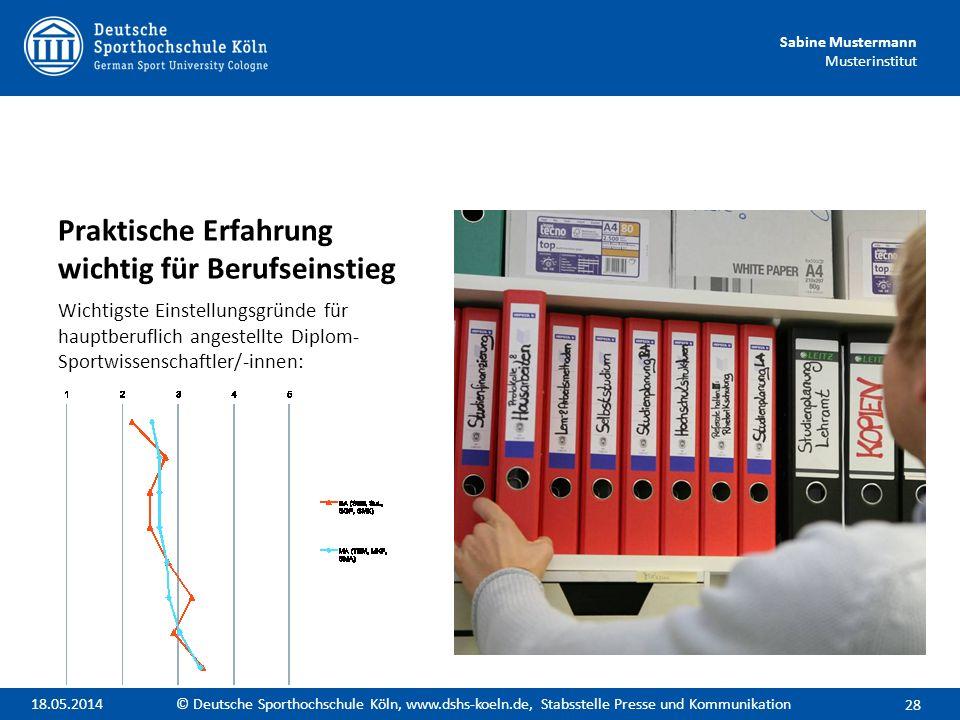 Sabine Mustermann Musterinstitut Praktische Erfahrung wichtig für Berufseinstieg Wichtigste Einstellungsgründe für hauptberuflich angestellte Diplom-