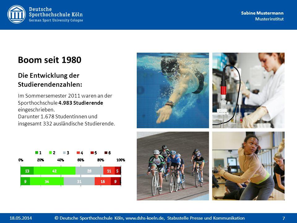 Sabine Mustermann Musterinstitut Boom seit 1980 Die Entwicklung der Studierendenzahlen: Im Sommersemester 2011 waren an der Sporthochschule 4.983 Stud