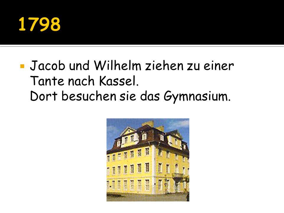 Jacob und Wilhelm ziehen zu einer Tante nach Kassel. Dort besuchen sie das Gymnasium.