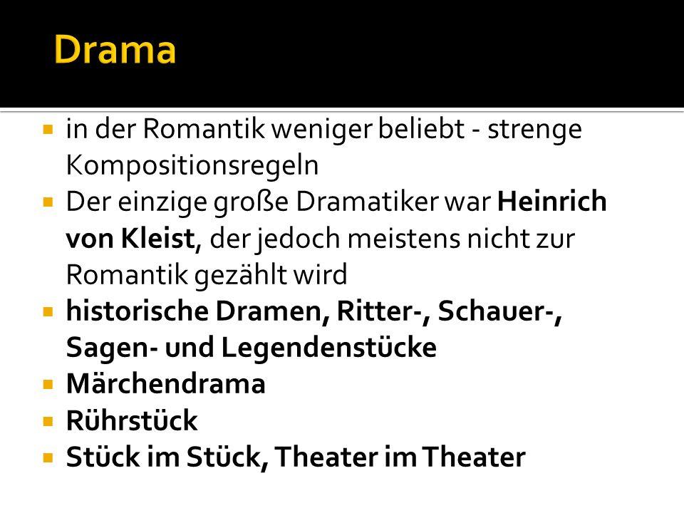 in der Romantik weniger beliebt - strenge Kompositionsregeln Der einzige große Dramatiker war Heinrich von Kleist, der jedoch meistens nicht zur Romantik gezählt wird historische Dramen, Ritter-, Schauer-, Sagen- und Legendenstücke Märchendrama Rührstück Stück im Stück, Theater im Theater