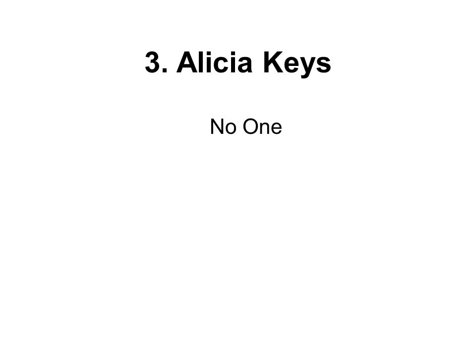 No One 3. Alicia Keys