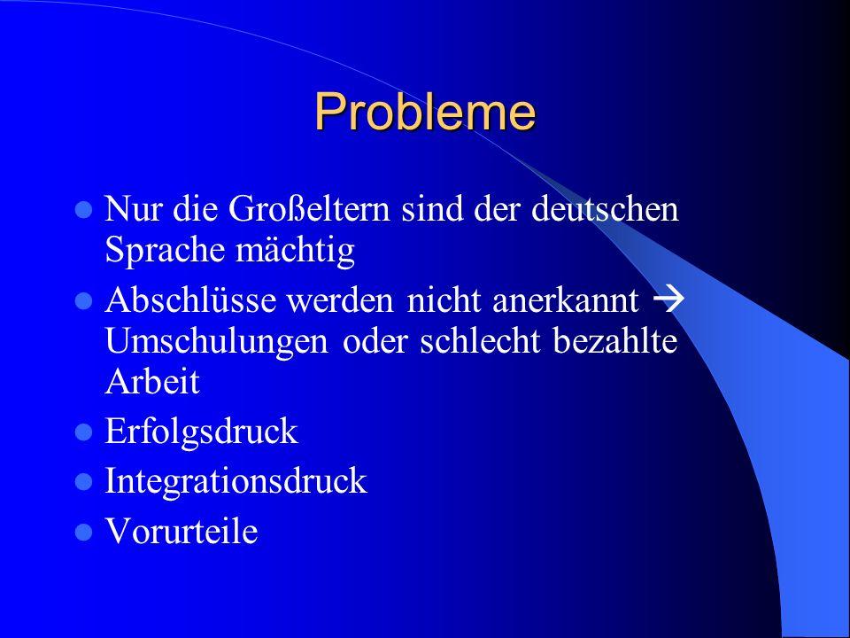 Probleme Nur die Großeltern sind der deutschen Sprache mächtig Abschlüsse werden nicht anerkannt Umschulungen oder schlecht bezahlte Arbeit Erfolgsdruck Integrationsdruck Vorurteile