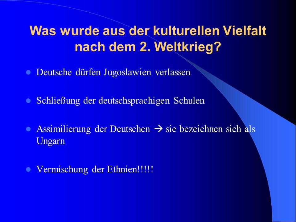Auswanderung nach Deutschland Nach dem Zweiten Weltkrieg In den 60er Jahren (meist Rückkehr nach einigen Arbeitsjahren) Während des Zerfalls von Jugoslawien (Kriegsverweigerer mit Familien und deutscher Abstammung)