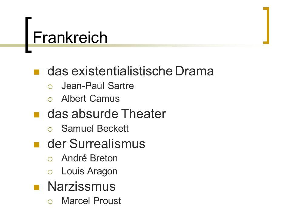 Frankreich das existentialistische Drama Jean-Paul Sartre Albert Camus das absurde Theater Samuel Beckett der Surrealismus André Breton Louis Aragon N