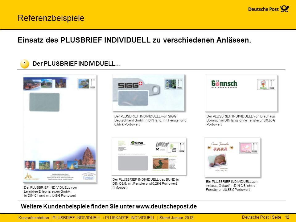Deutsche Post | Seite Kurzpräsentation | PLUSBRIEF INDIVIDUELL / PLUSKARTE INDIVIDUELL | Stand Januar 2012 12 Referenzbeispiele Einsatz des PLUSBRIEF