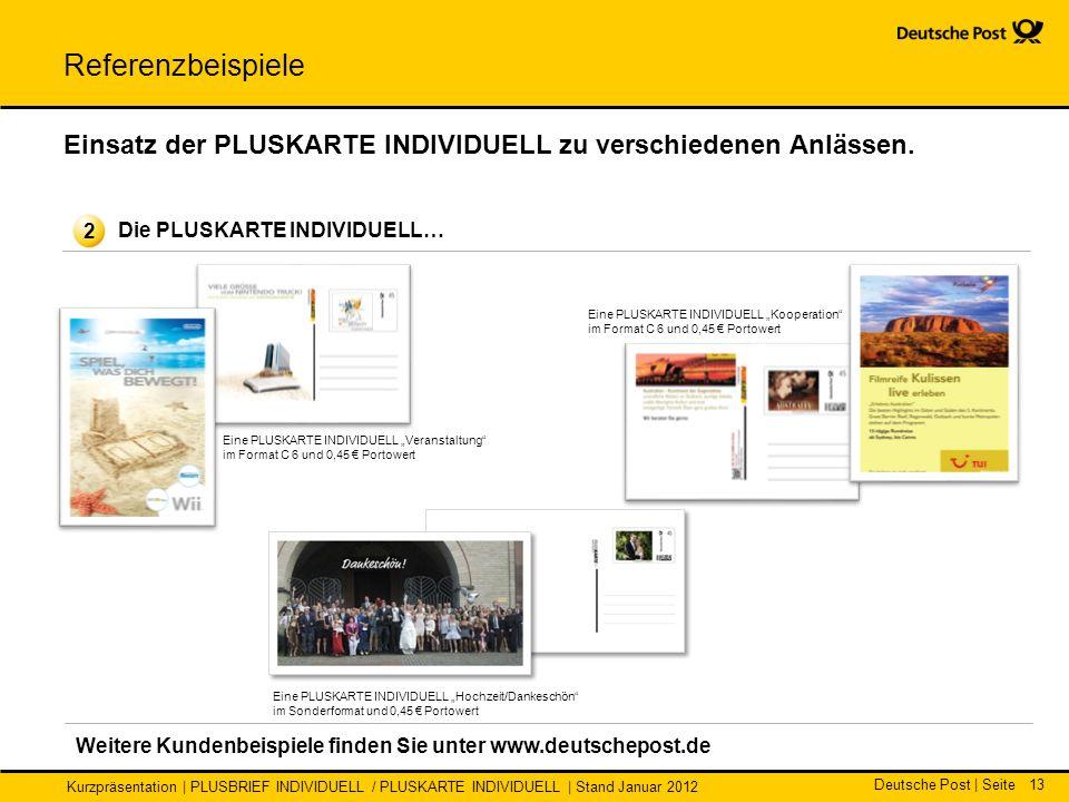 Deutsche Post | Seite Kurzpräsentation | PLUSBRIEF INDIVIDUELL / PLUSKARTE INDIVIDUELL | Stand Januar 2012 13 Referenzbeispiele Einsatz der PLUSKARTE INDIVIDUELL zu verschiedenen Anlässen.