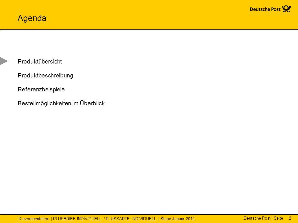 Deutsche Post | Seite Kurzpräsentation | PLUSBRIEF INDIVIDUELL / PLUSKARTE INDIVIDUELL | Stand Januar 2012 22 Agenda Produktübersicht Produktbeschreibung Referenzbeispiele Bestellmöglichkeiten im Überblick