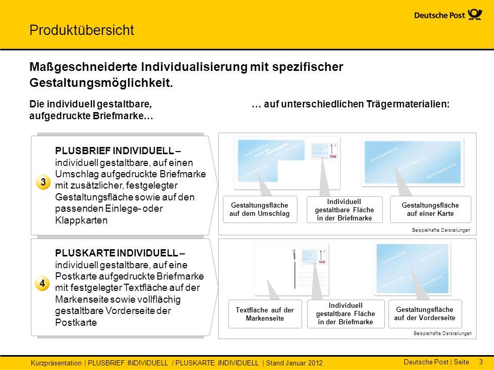 Deutsche Post | Seite Kurzpräsentation | PLUSBRIEF INDIVIDUELL / PLUSKARTE INDIVIDUELL | Stand Januar 2012 3 … auf unterschiedlichen Trägermaterialien