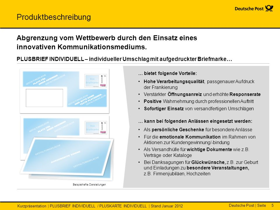 Deutsche Post | Seite Kurzpräsentation | PLUSBRIEF INDIVIDUELL / PLUSKARTE INDIVIDUELL | Stand Januar 2012 5 Beispielhafte Darstellungen … bietet folg