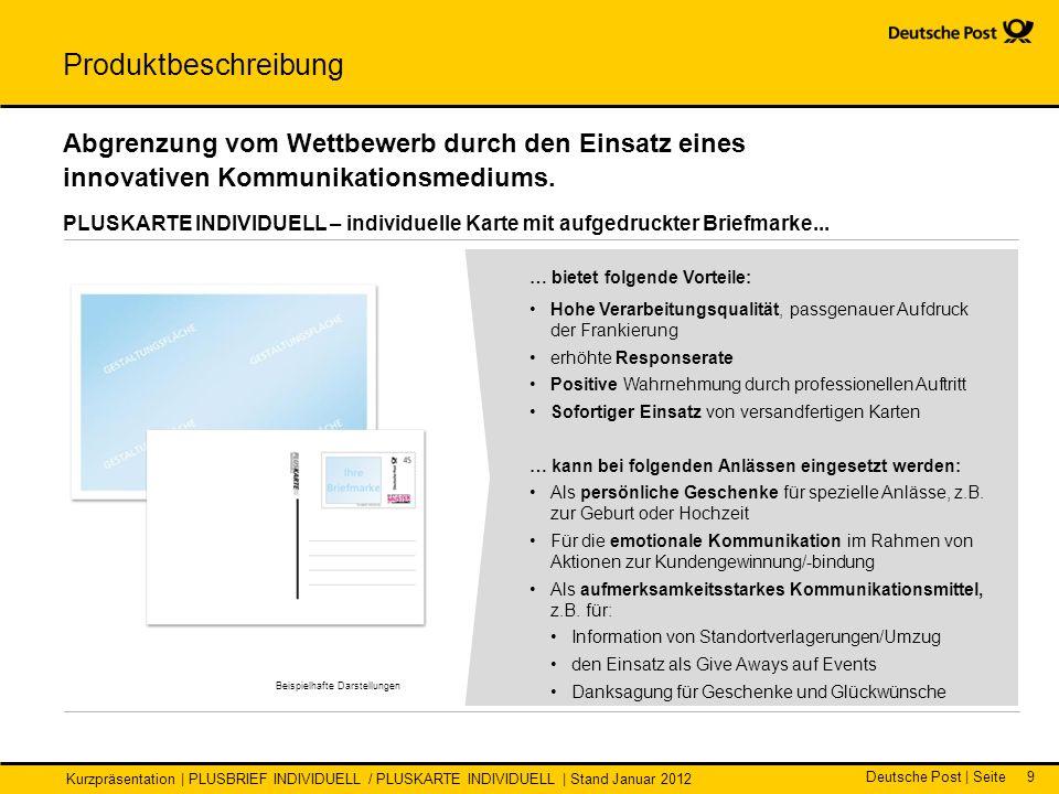 Deutsche Post | Seite Kurzpräsentation | PLUSBRIEF INDIVIDUELL / PLUSKARTE INDIVIDUELL | Stand Januar 2012 9 … bietet folgende Vorteile: Hohe Verarbei